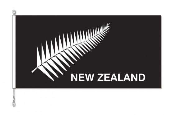 New Zealand, NZ Silver Fern Flag with Sister Clips