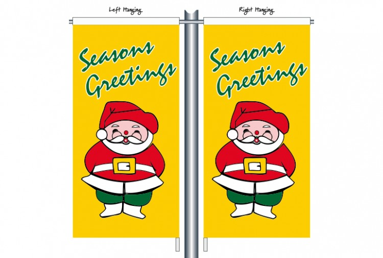CSB1110 Christmas Santa with Yellow Background Street Banner