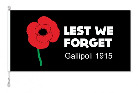 Lest We Forget Gallipoli 1915 Black RSA06 Horizontal Flag