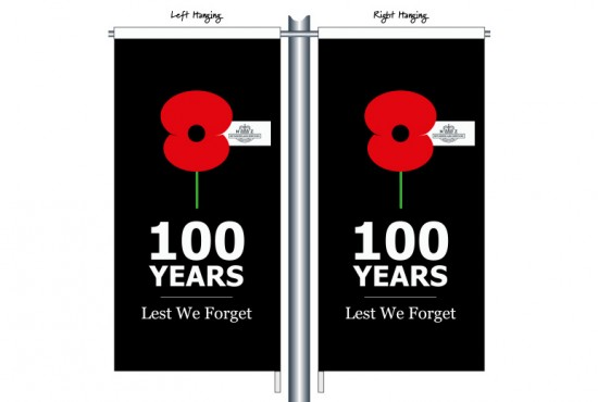 100 Years Lest We Forget RSA01 Black - Anzac Day Street Banner