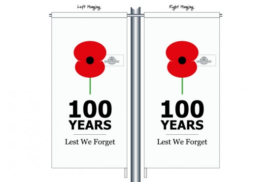 100 Years Lest We Forget RSA01 White - Anzac Day Street Banner