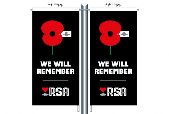 RSA08 We Will Remember with RSA Logo Black Street Banner