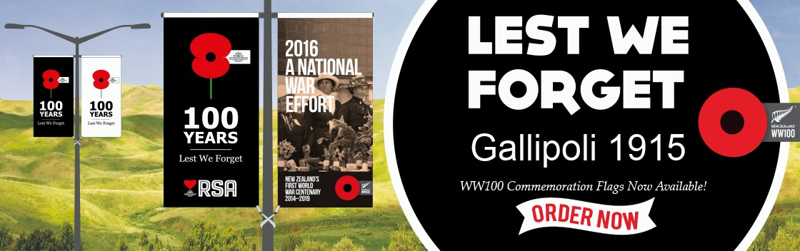 WW100 Commemoration Flags – 100 Years Lest We Forget Gallipoli 1915 Street Banner