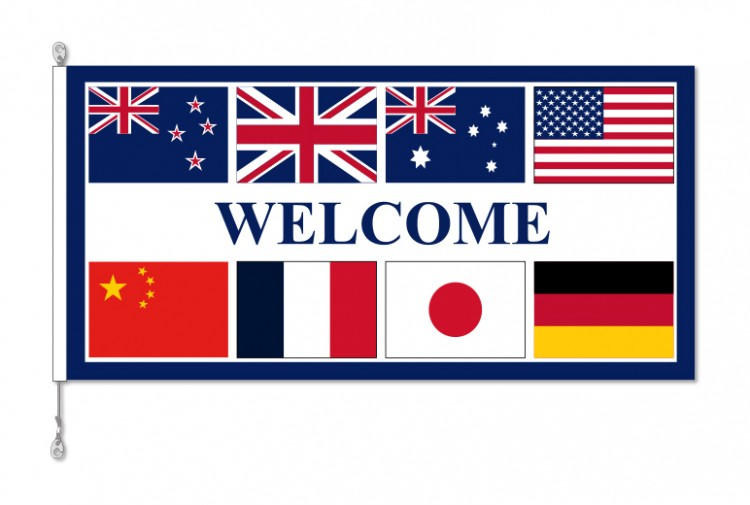 Multi national Motel Welcome Flag