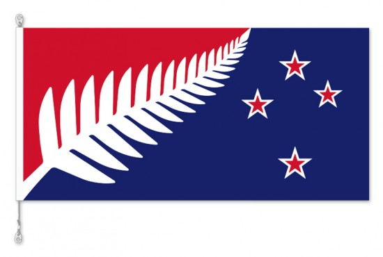 Kyle Lockwood Blue /Red Silver Fern Flag