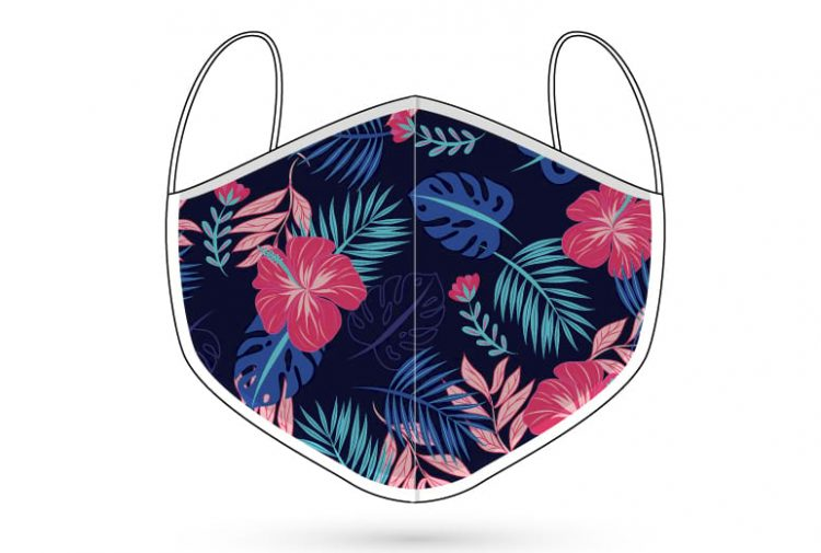Hibiscus blue digitally printed 3 ply face mask