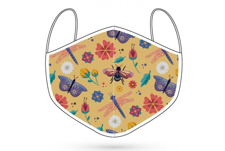 Colourful insects and flowers digitally printed 3 ply face mask